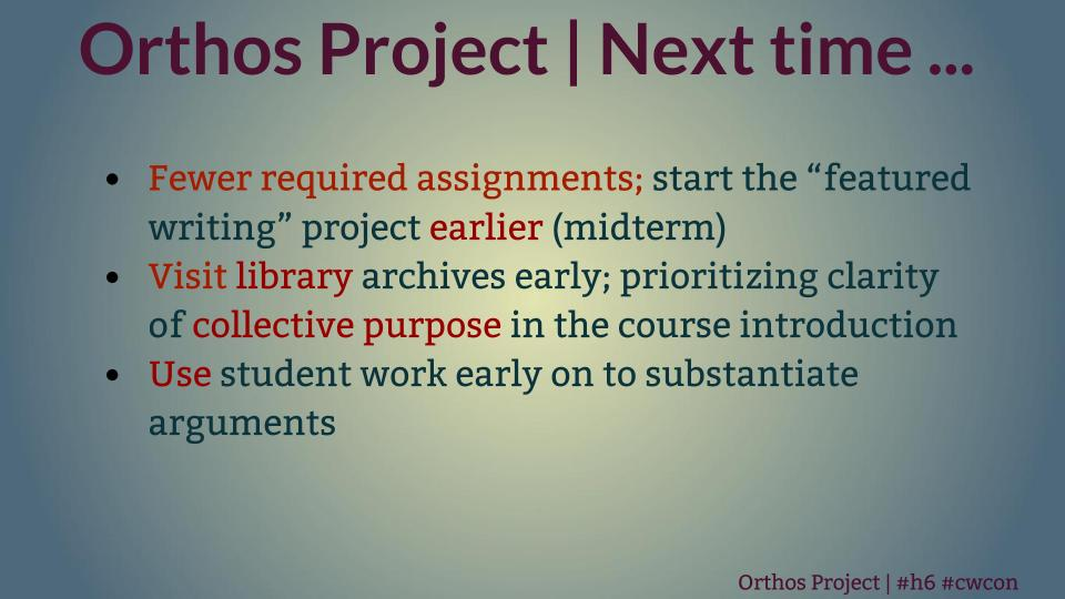 "Title: ""Orthos Project