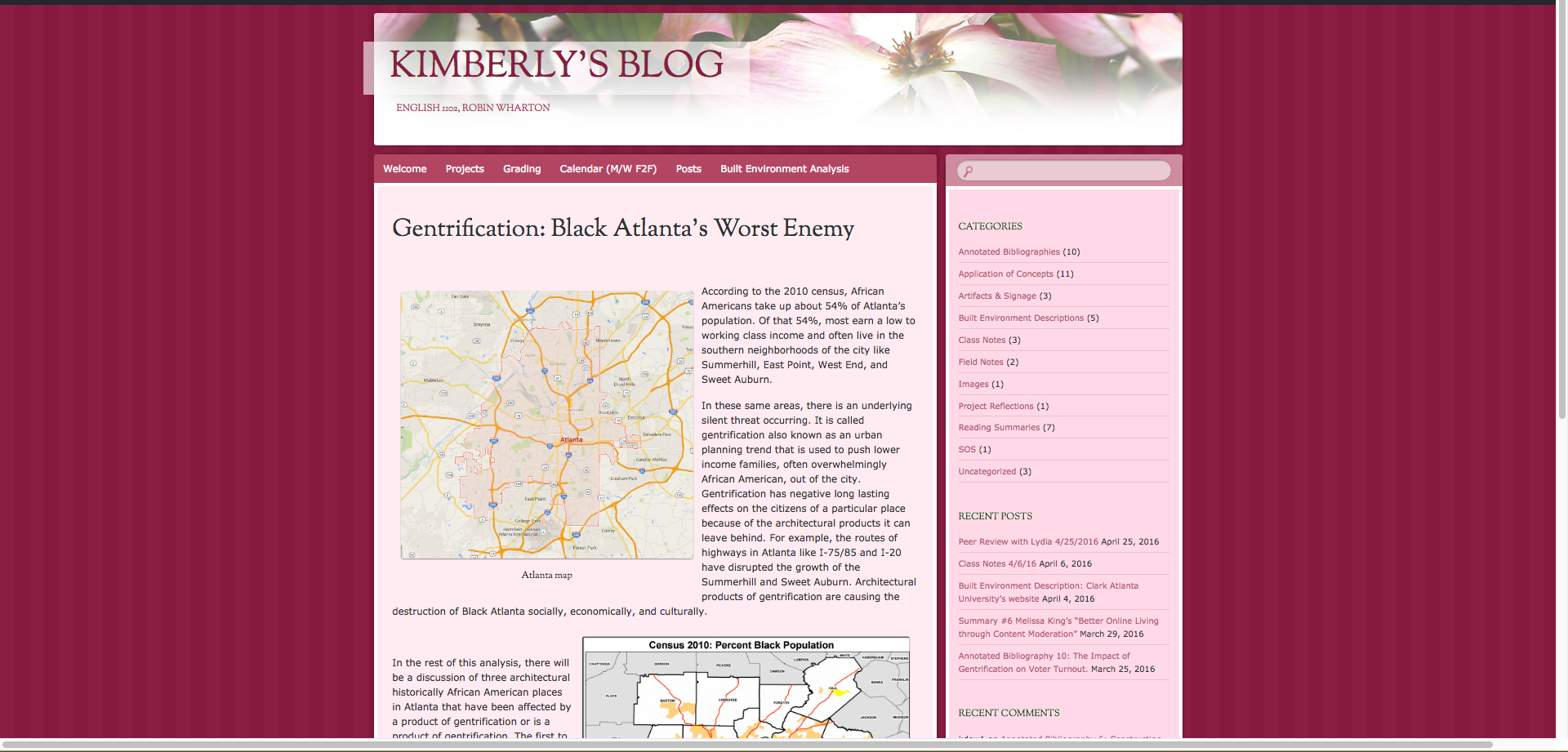 "Magenta background. Center column is main blog site. Banner at the top features large, soft pink and white flowers. Left, large magenta letters read: ""Kimberlyl's Blog."" The main site features a large map of Atlanta. The blog title reads, ""Gentrification: Black Atlanta's Worst Enemy."""